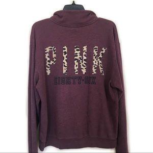 ✨ VS Pink Maroon Cheetah Half Zip Hoodie